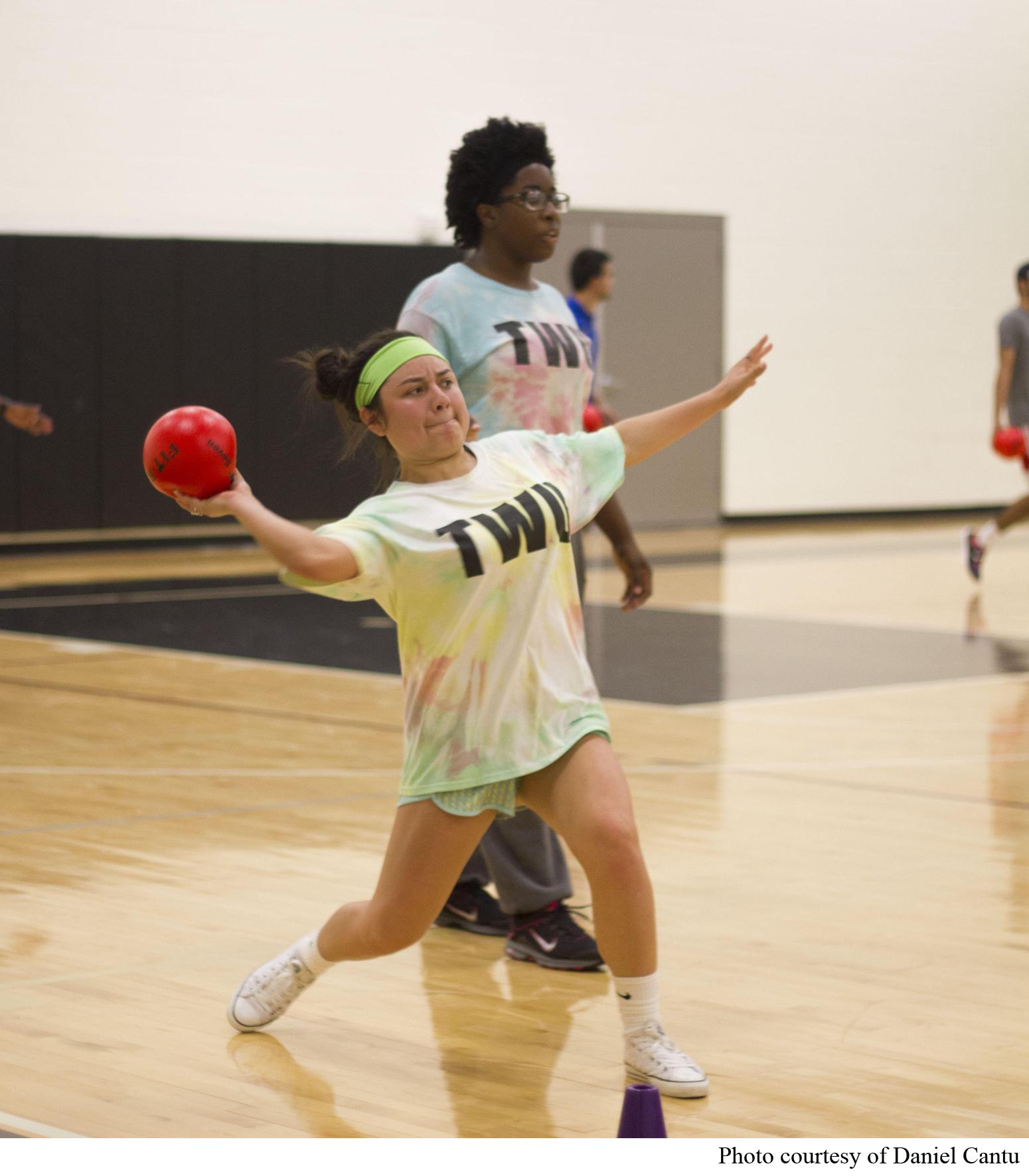 TWU students enjoy an intense game of intramural dodgeball.
