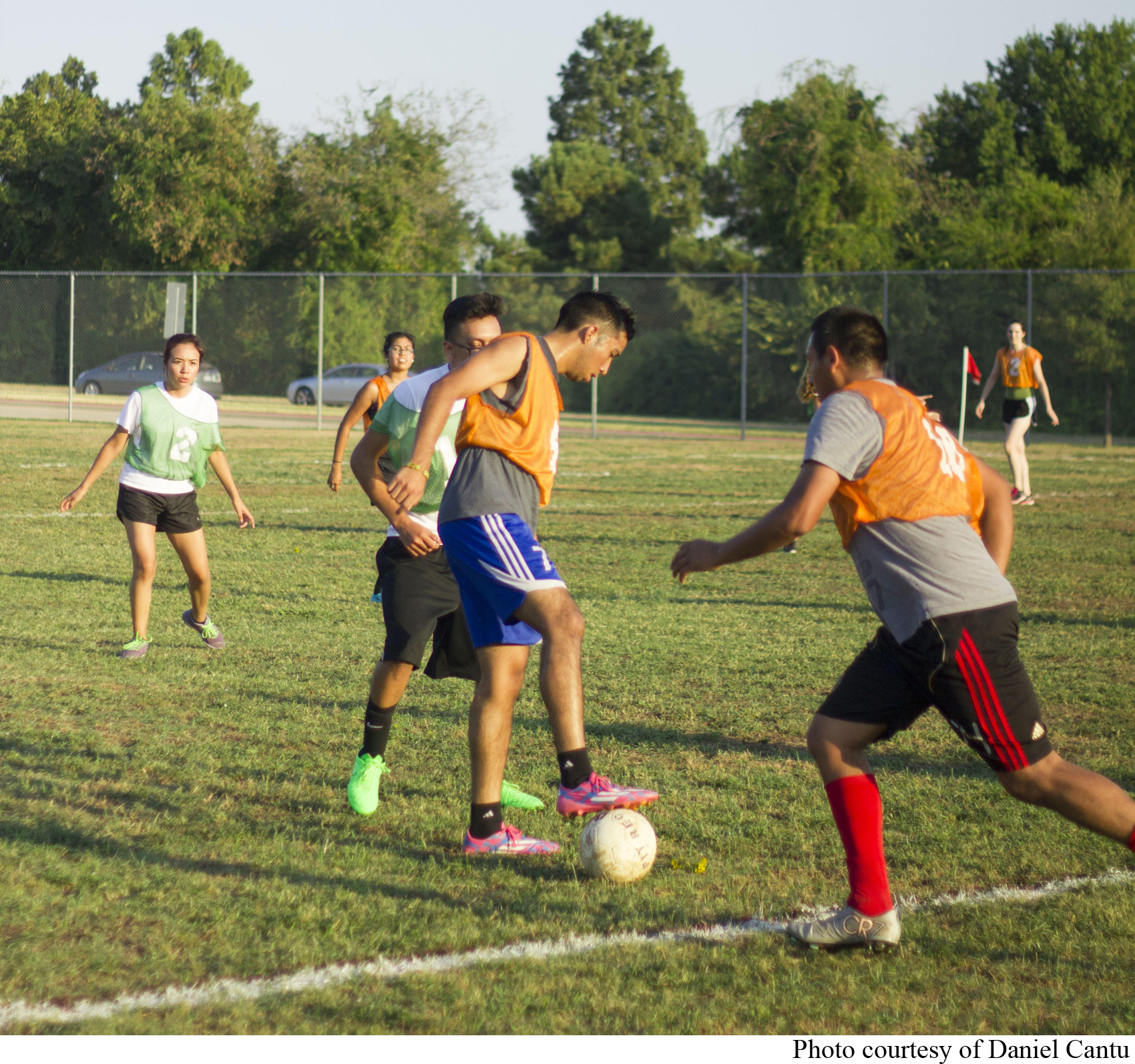 Co-ed Soccer players concentrate during a recent intramural soccer match.