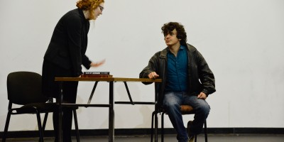 """Drama majors Nolan Chapa and Riley JoPayne rehearse lines for their upcoming performance in TWU's production of Pulitzer Prize winning playwright, Wendy Wasserstein's """"Third."""""""