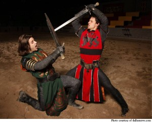Knights playfully spar with one another at Medieval Times.