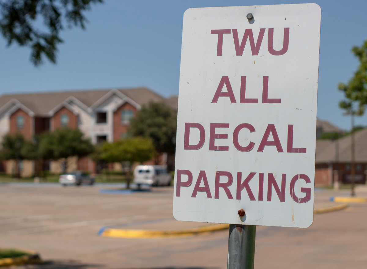 "Sign displays words ""TWU All Decal Parking"""
