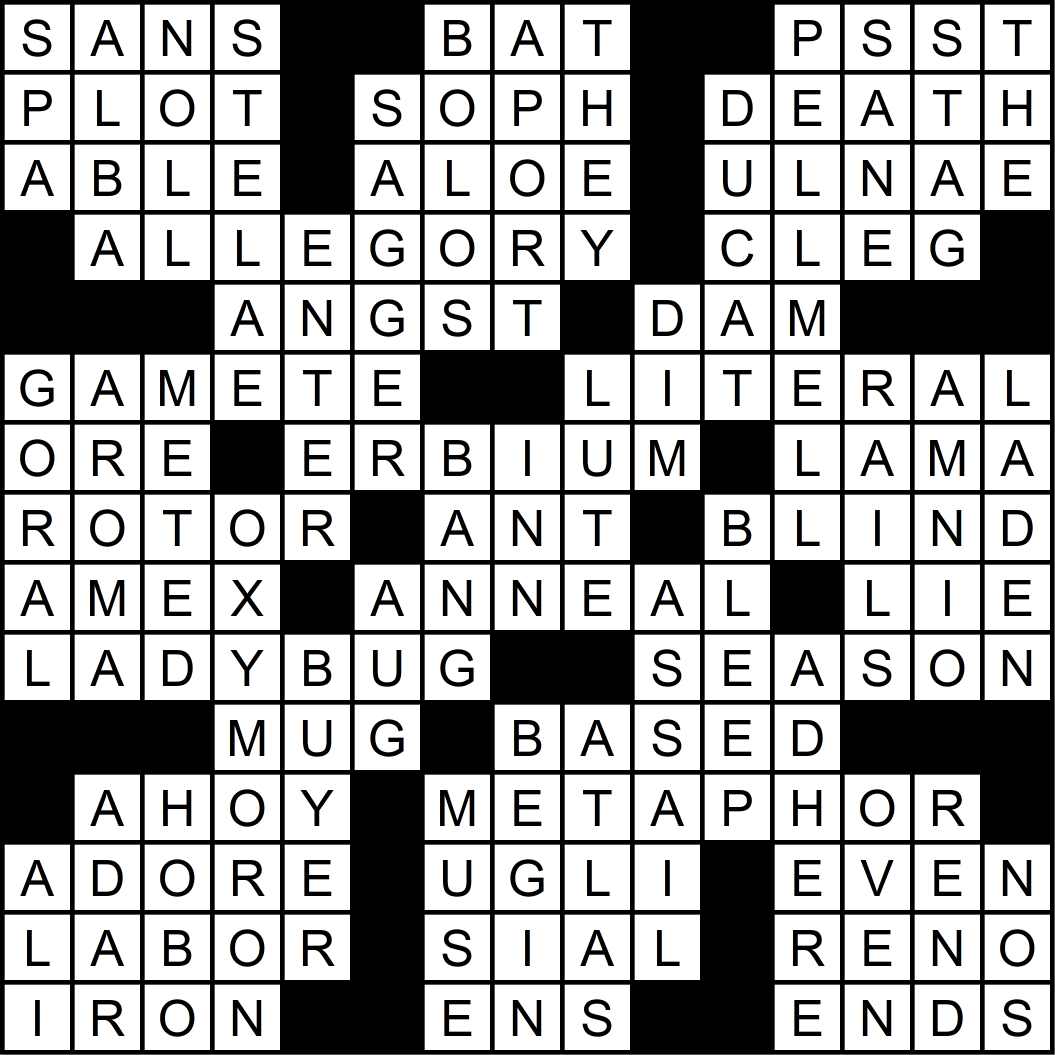 Solution to this month's crossword