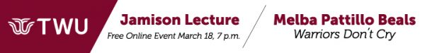 Ad for the Jamison Lecture, March 18 at 7 p.m. featuring Melba Pattillo Beats